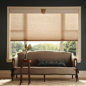 "Graber CrystalPleat 3/4"" Single Cell Light Filtering Shades Room Setting"