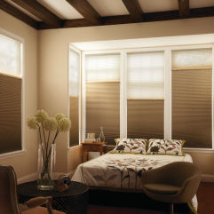 "Graber CrystalPleat 3/4"" Single Cell Blackout Shades room scene"