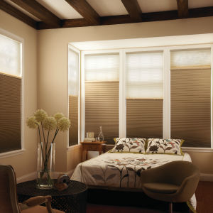 "Graber CrystalPleat 3/4"" Single Cell Blackout Shades Room Setting"
