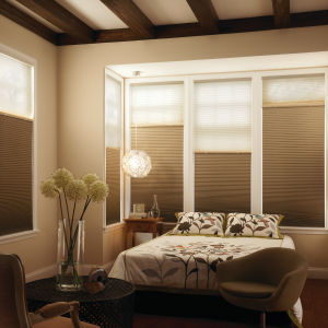 "Graber CrystalPleat 3/8"" Double Cell Blackout Shades Room Setting"