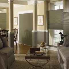 "Graber CrystalPleat 3/8"" Double Cell Blackout Shades room scene"