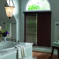 "Graber Lake Forest 2"" Faux Wood Blinds room scene"