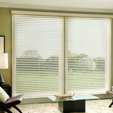"Graber Lake Forest 2-1/2""  Faux Wood Blinds room scene"