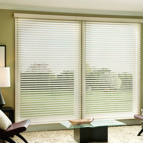 "Graber Lake Forest 2-1/2""  Faux Wood Blinds Room Setting"