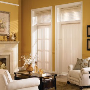 Graber Vinyl Vertical Blinds Room Setting
