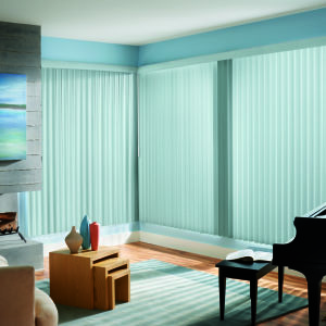 Graber Vinyl S-Curve Vertical Blinds Room Setting
