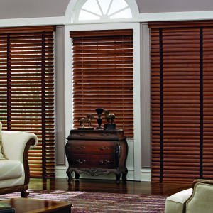 "Graber Traditions 2-1/2"" Shutter Style Wood Blinds Room Setting"
