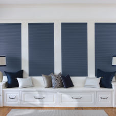 "Levolor Accordia 9/16"" Single Cell Blackout Shades room scene"