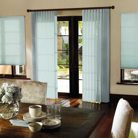 Levolor Perceptions Soft Vertical Shades Room Setting