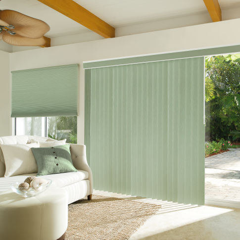 Levolor Custom S-Curve Vertical Blinds Room Setting