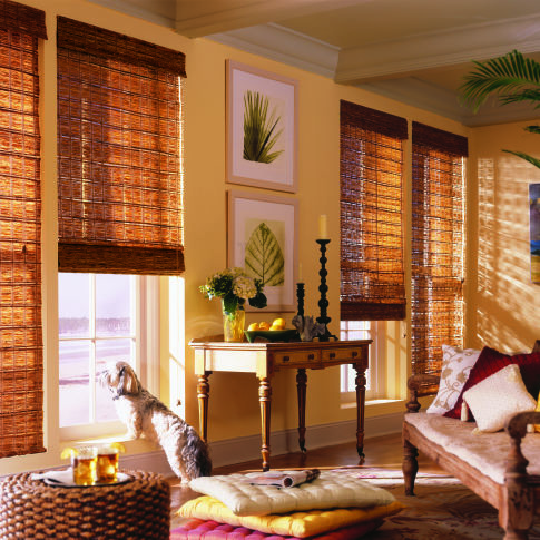 M&B Bamboo Bay Woven Wood Shades Room Setting