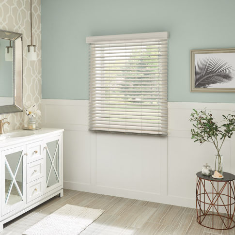 "Bali 2"" Faux Wood Blinds Room Setting"