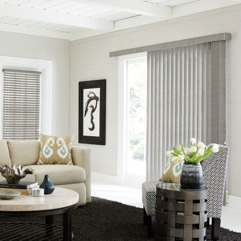 Bali Vinyl S-Curve Vertical Blinds Room Setting