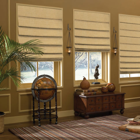 BlindSaver Custom Hobbled Roman Shades Room Setting