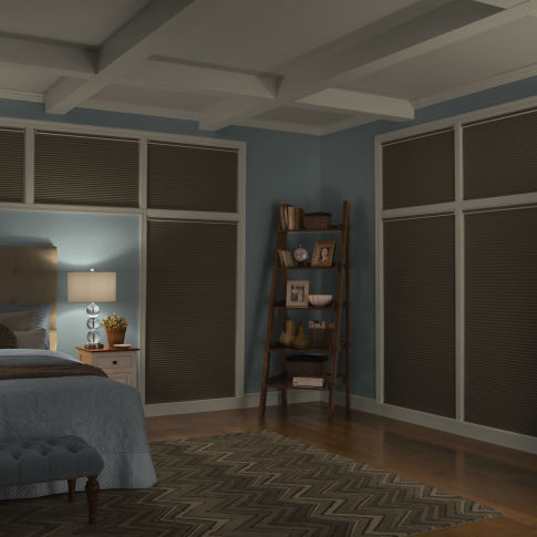 "Finecraft Signature Collection 3/4"" Single Cell Blackout Shades Room Setting"