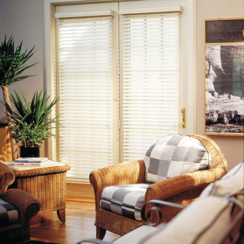 "Finecraft Finewoods 2"" Faux Wood Blinds Room Setting"